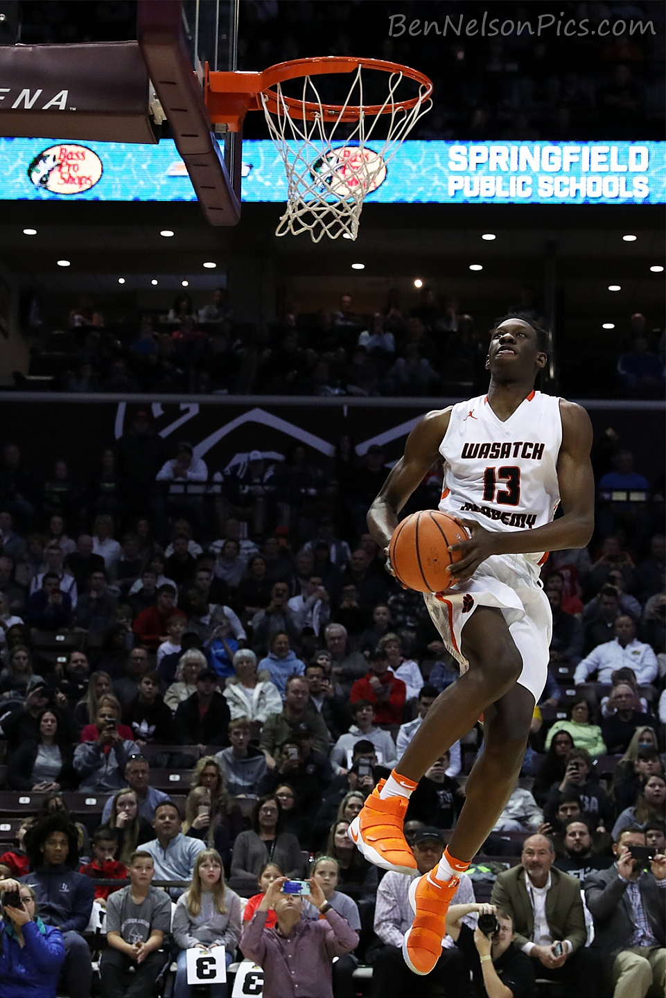 Bass Pro Shops Tournament of Champions 2018 - Wasatch Academy player Tyrese Samuel takes air before a dunk during the 2018 TofC dunk contest.