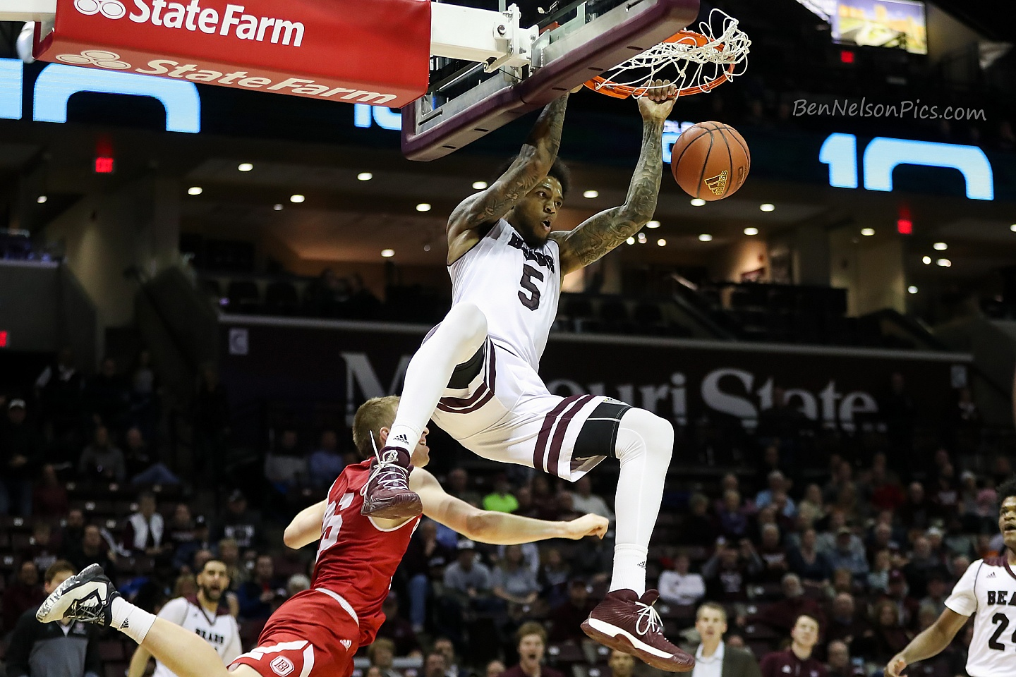 Missouri State Bears Basketball 2017-2018  - Obediah Church Dunks over a Bradley player 2018 MVC Play at JQH Arena