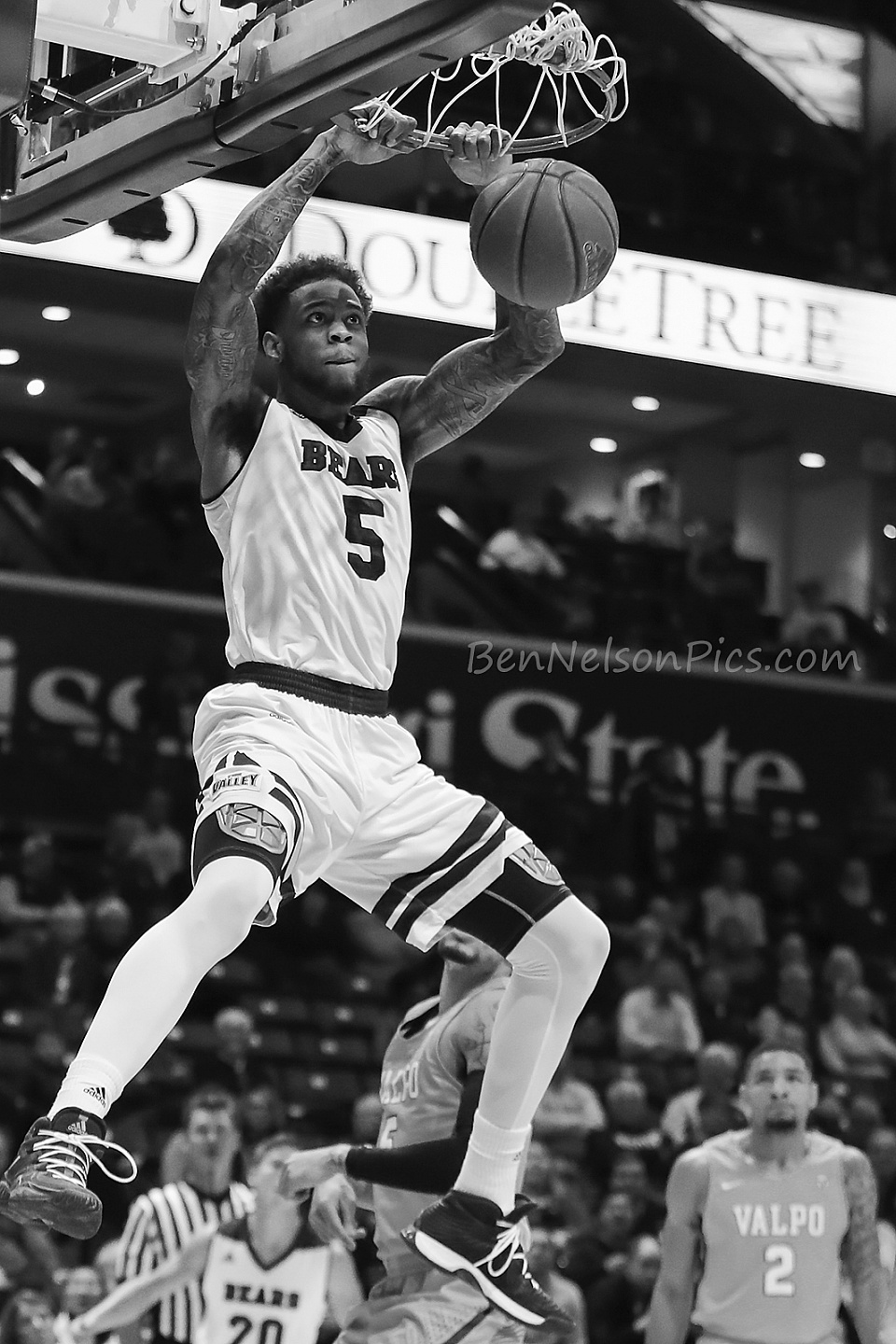 Missouri State Bears Basketball 2017-2018  - Another dunk by Obediah Church in black and white.