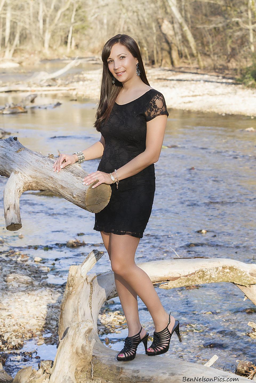 Modeling Fun | Aspiring Models by Ben Nelson - Mandy Models A Black Dress At Busiek State Park