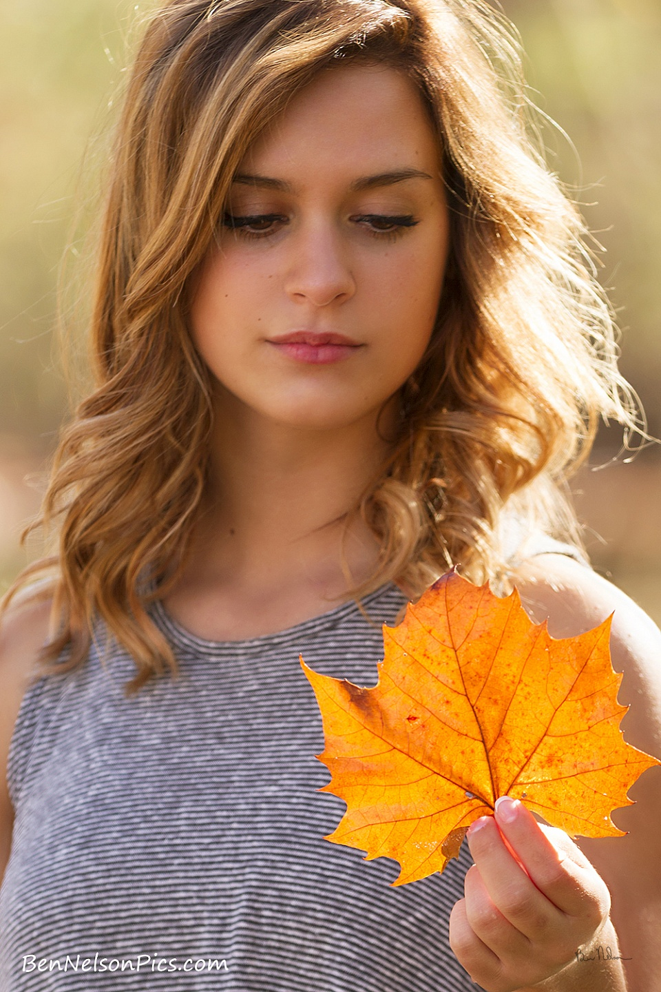 A collection of Senior Pictures and Portraits in the Springfield Missouri area by Ben Nelson - Brianna Logan Senior Picture With Fall Leaf