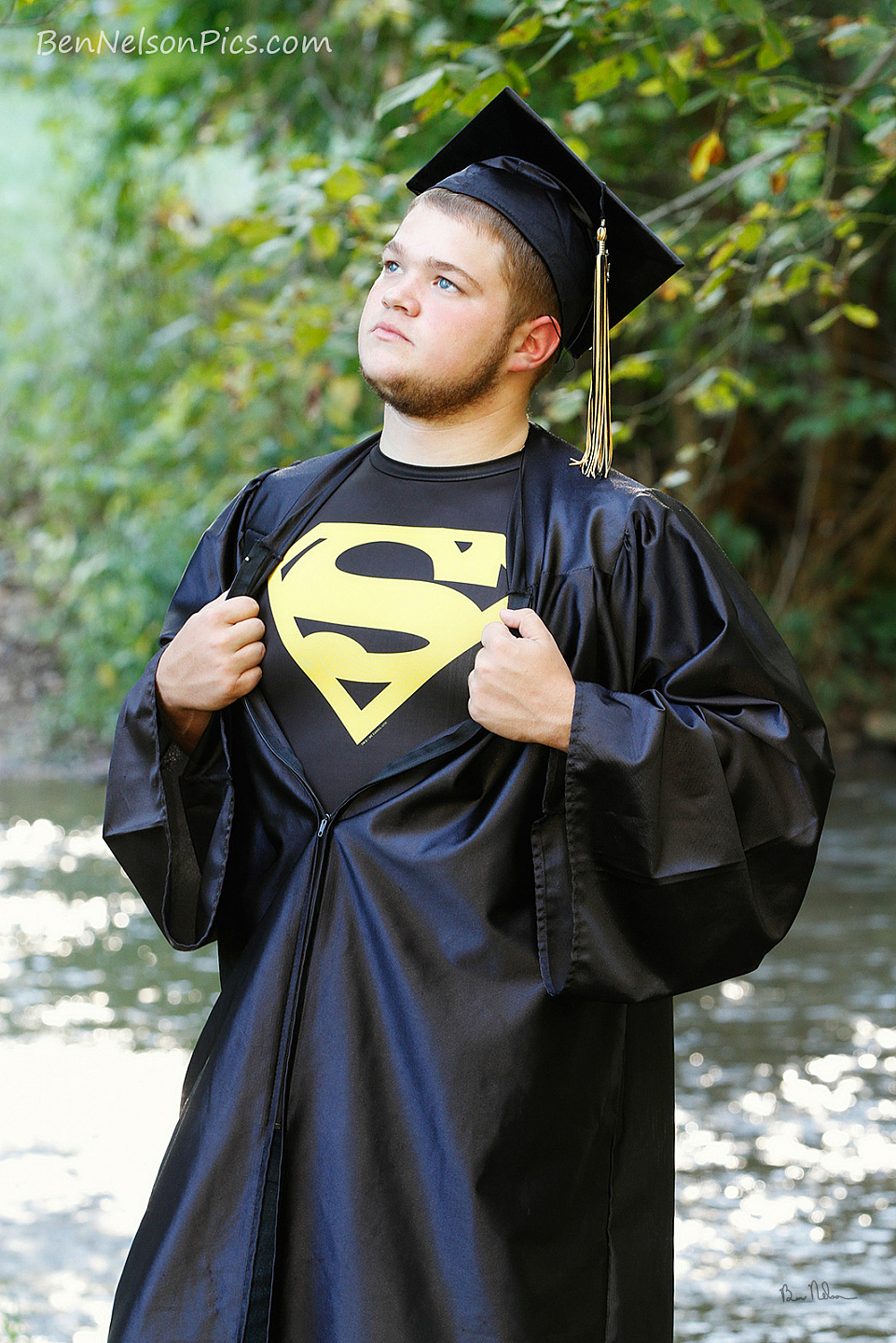 A collection of Senior Pictures and Portraits in the Springfield Missouri area by Ben Nelson - Michael Super Man Pose Senior Portrait